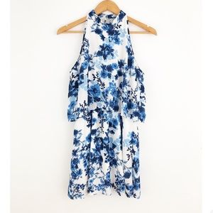 Anthro Paper Crane Blue & White Floral Dress